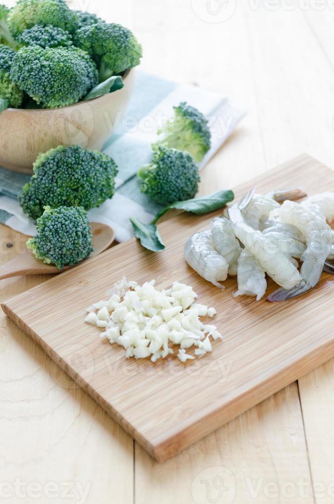 Ingredient of broccoli and shrimp photo