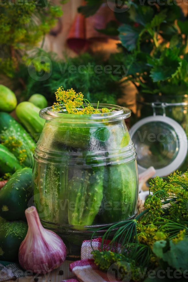 Jar pickles other ingredients pickling photo