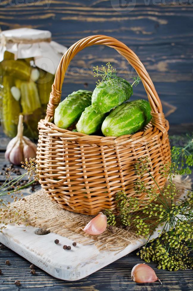 Pickled cucumbers photo