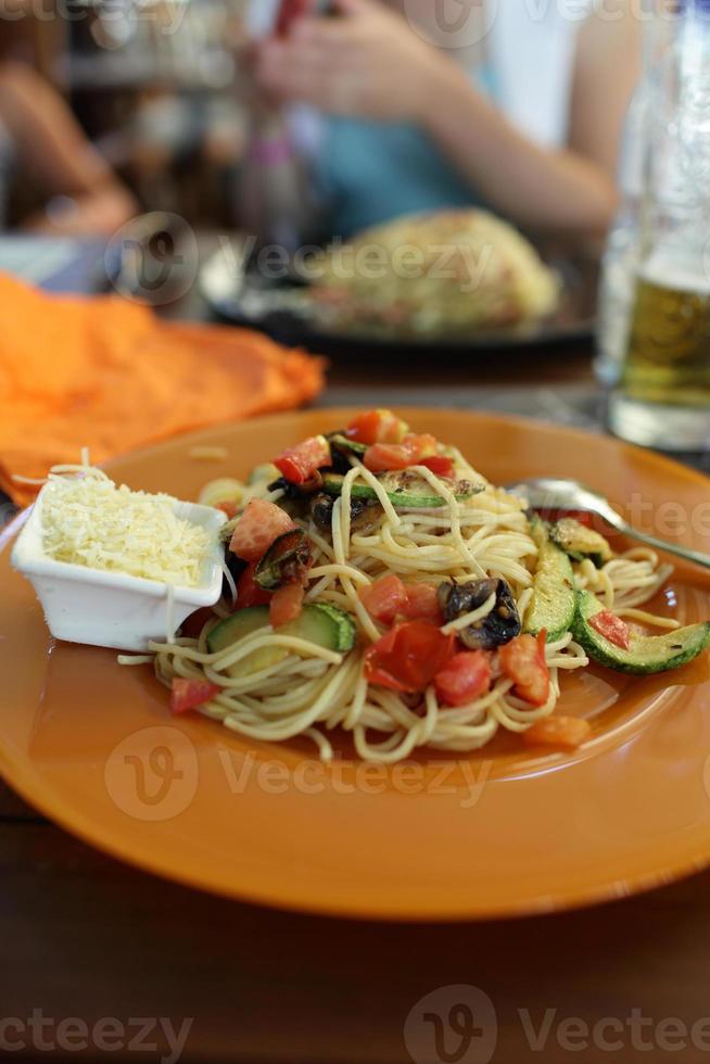 Spaghetti and cheese photo