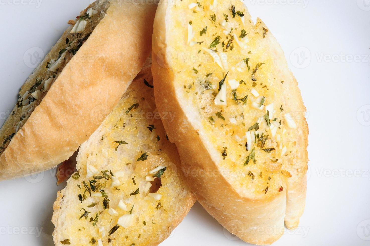 Garlic bread close up photo