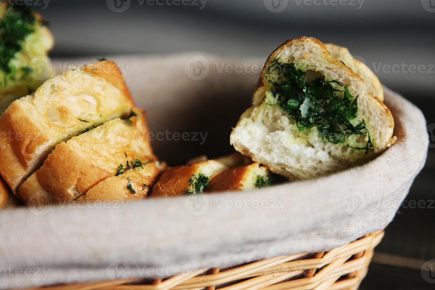 Homemade garlic bread photo