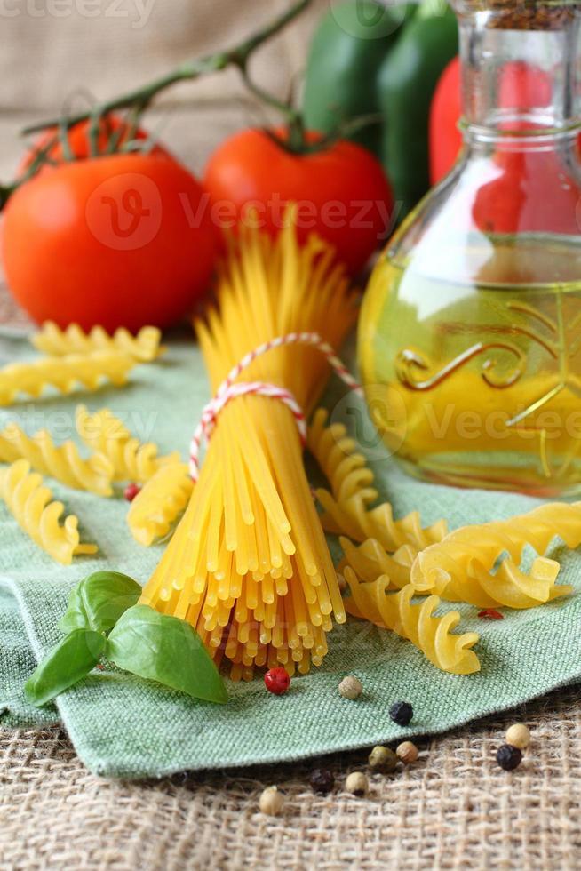 Uncooked gluten free pasta photo