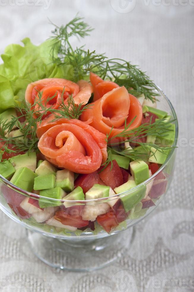 Avocado salad with salmon. photo