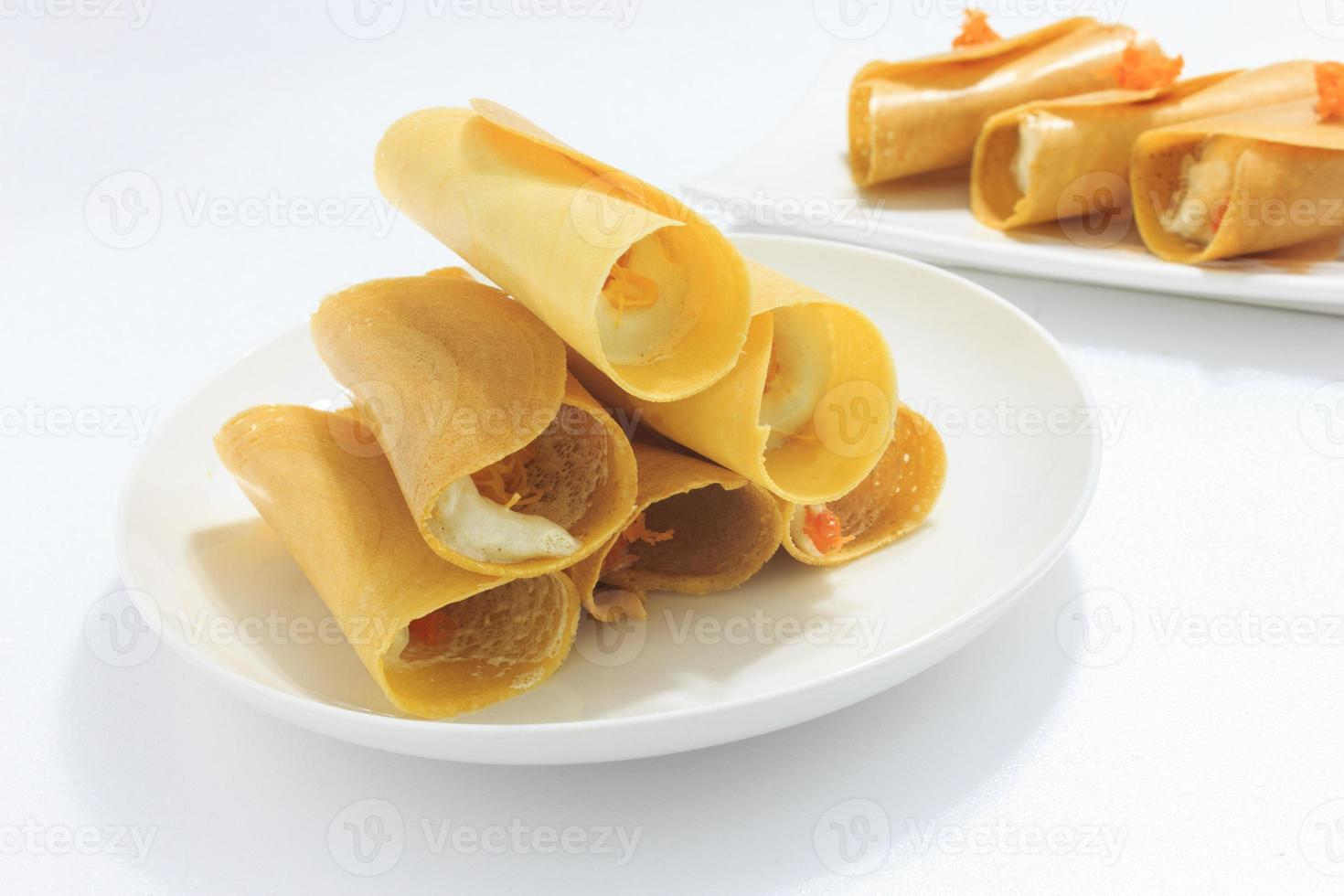 panqueque crujiente tailandés, postre tailandés foto