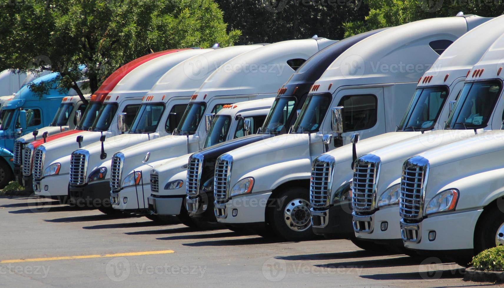 Row of new US trucks photo