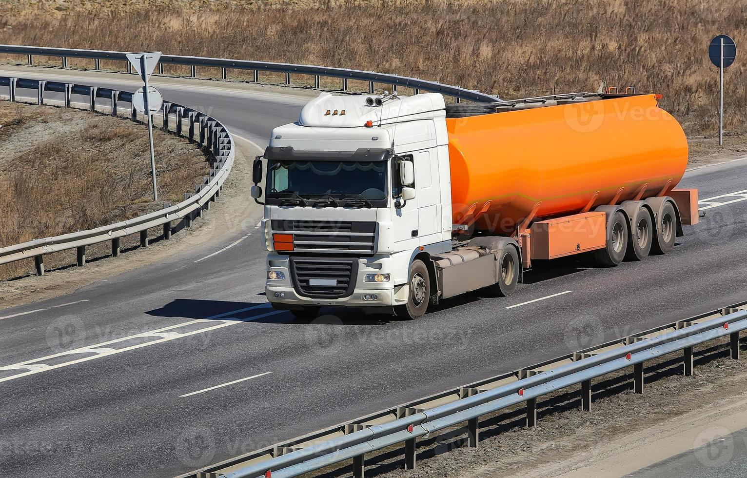 fuel truck on the highway photo