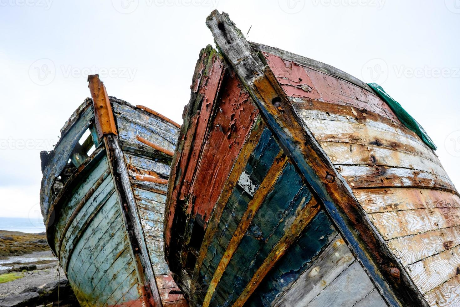 Pair of old fishing boats photo