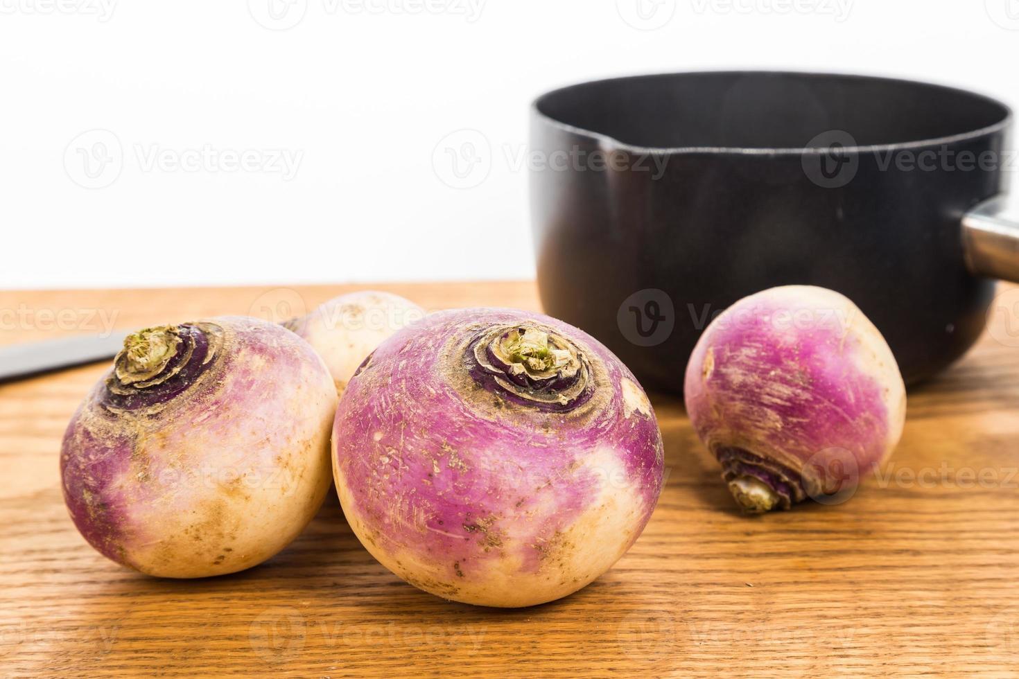 Raw Turnips and Sauce Pan photo