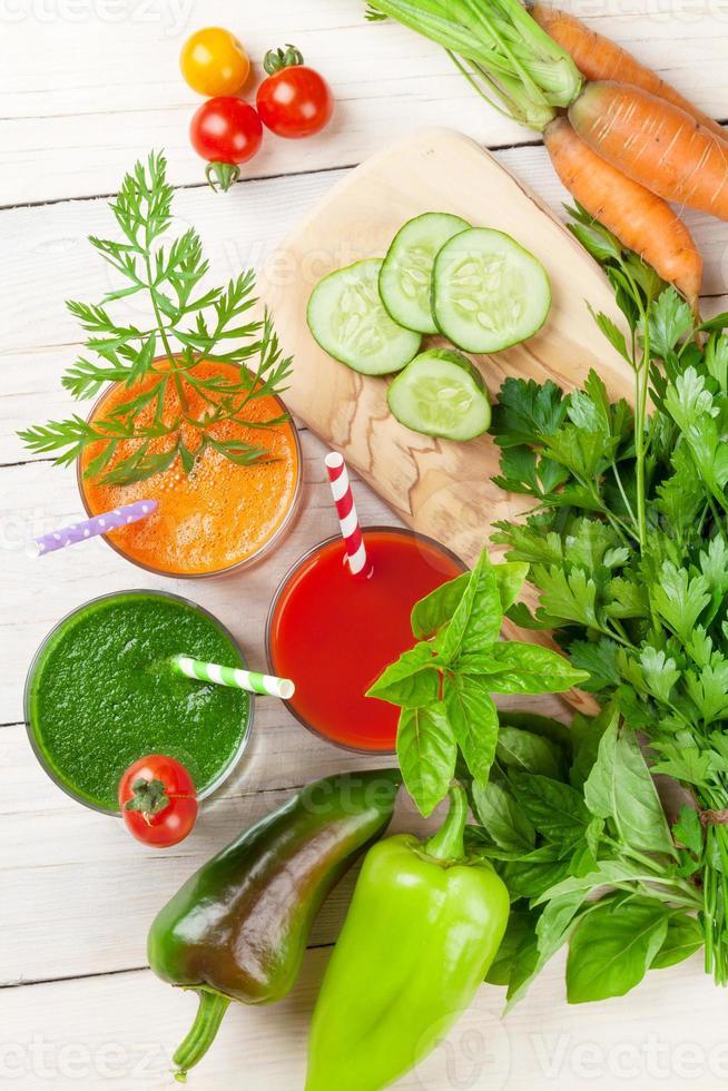 Fresh vegetable smoothie. Tomato, cucumber, carrot photo