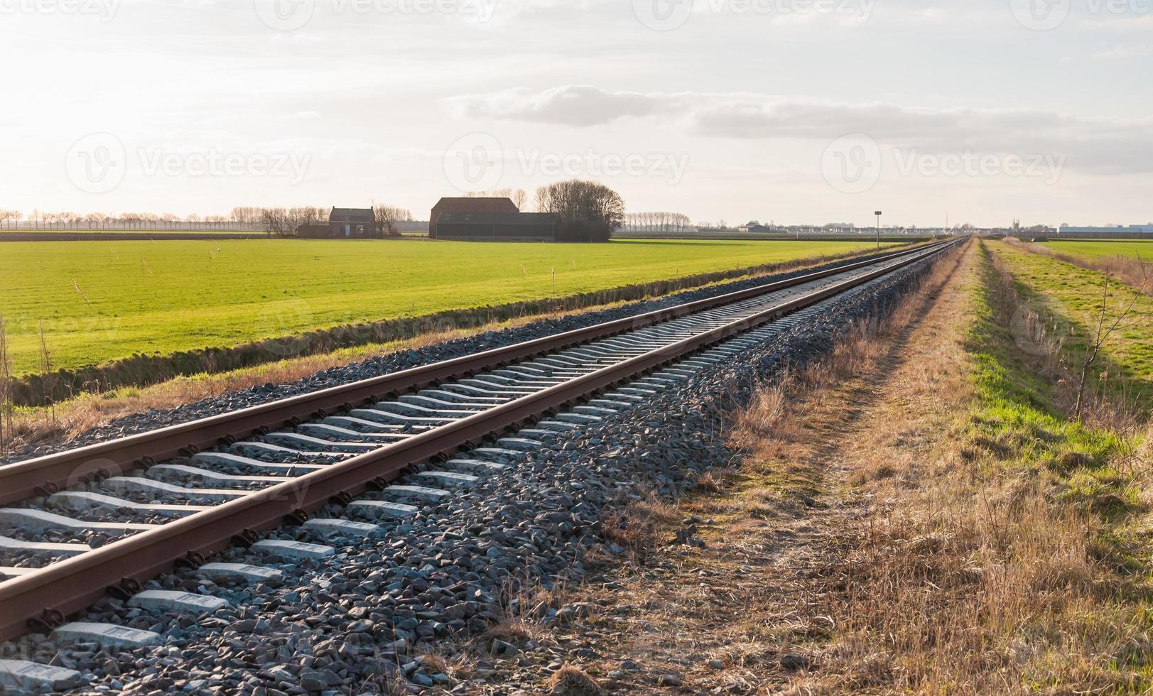 Diagonally railroad photo