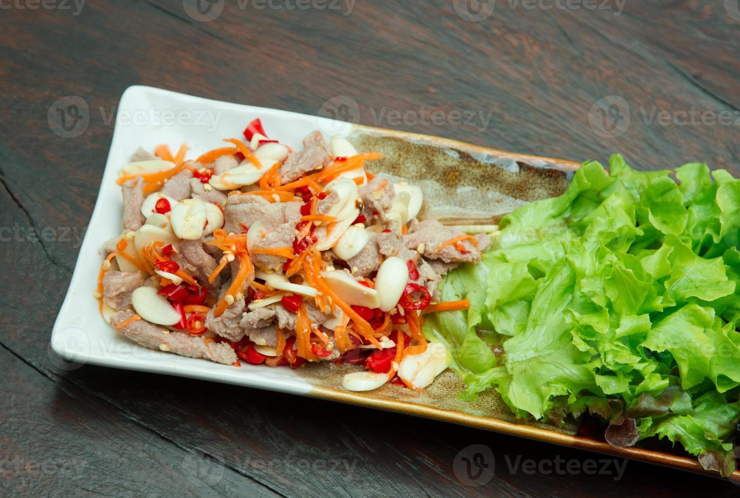 Boiled pork with lime, garlic and chili sauc photo