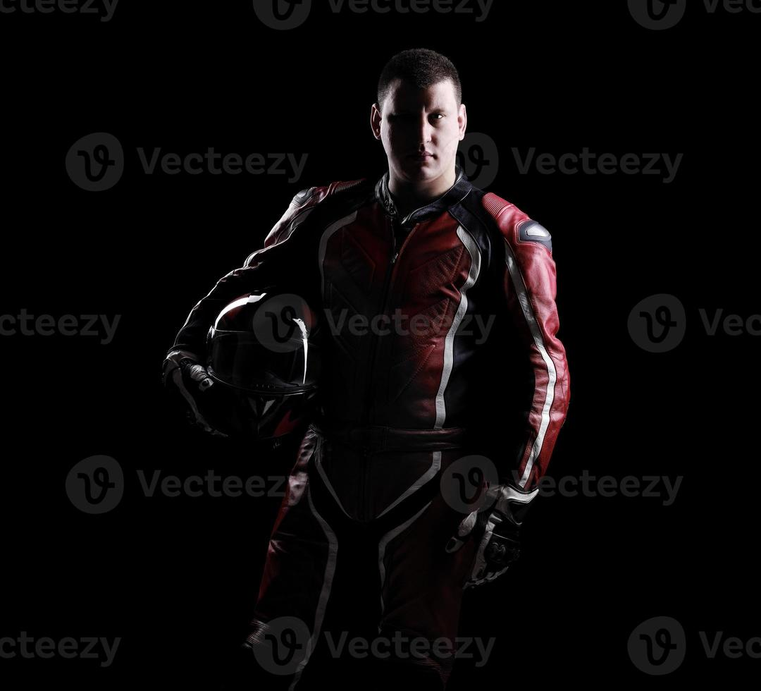 Low key silhouette of a biker photo