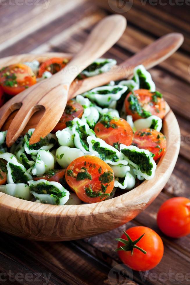 Cherry tomatoes with gluten-free pasta photo