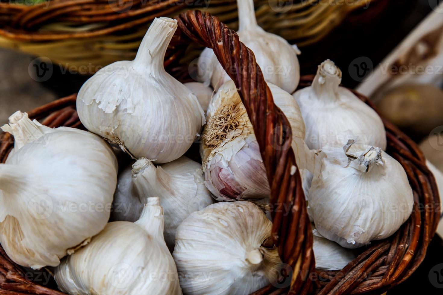 garlics in basket photo