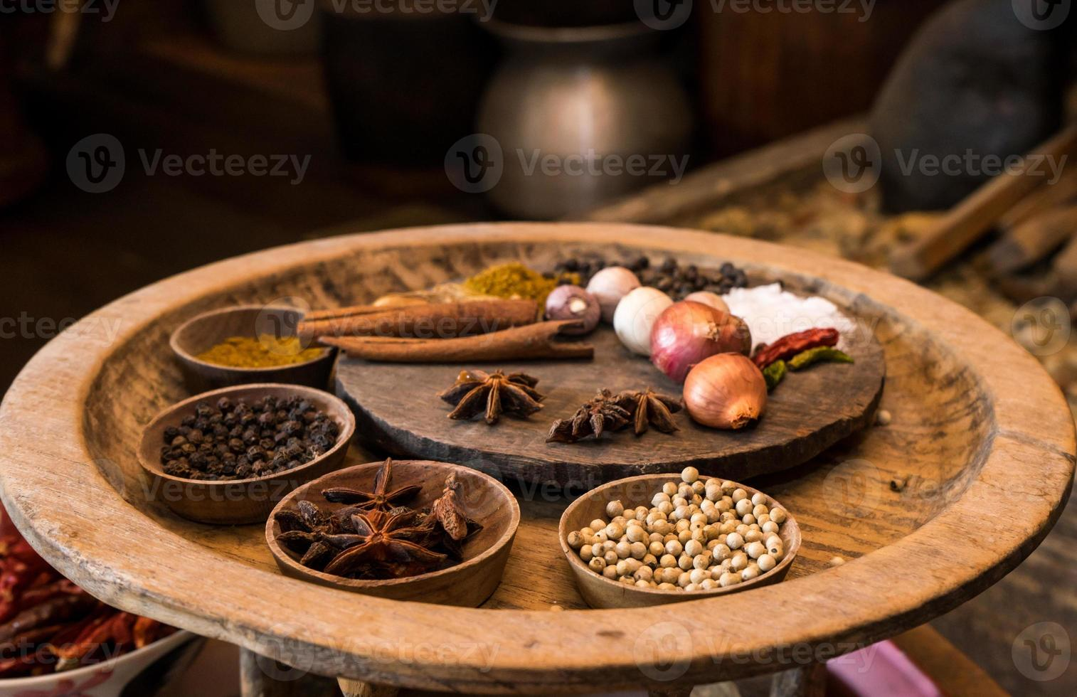 spices in vintage kitchen photo