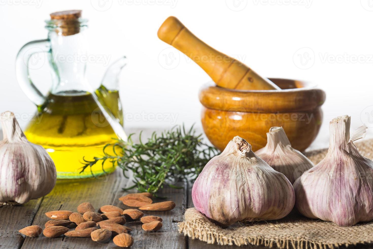 Garlic and mortar photo