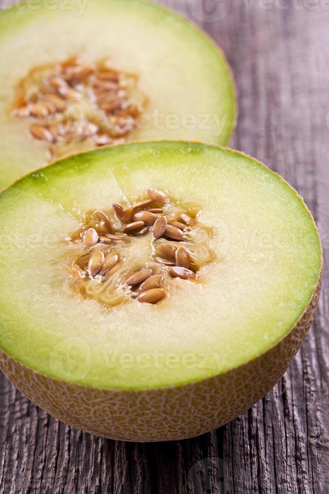 Cantaloupe melon slices photo