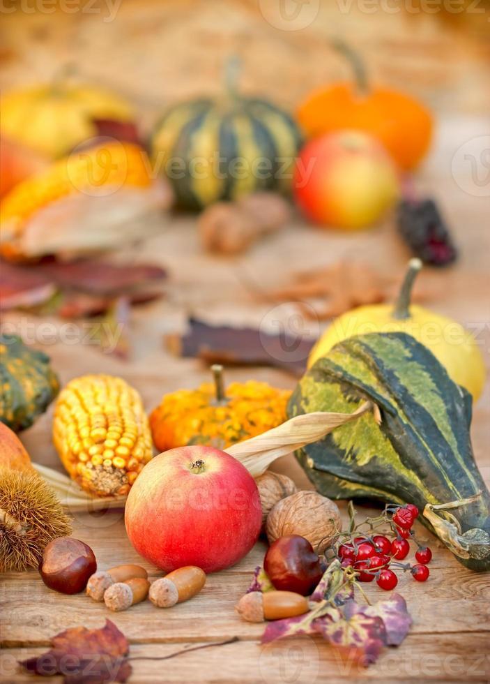 frutas y verduras orgánicas de otoño foto