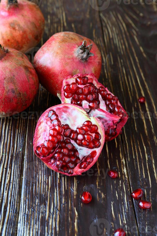 ripe juicy pomegranates photo