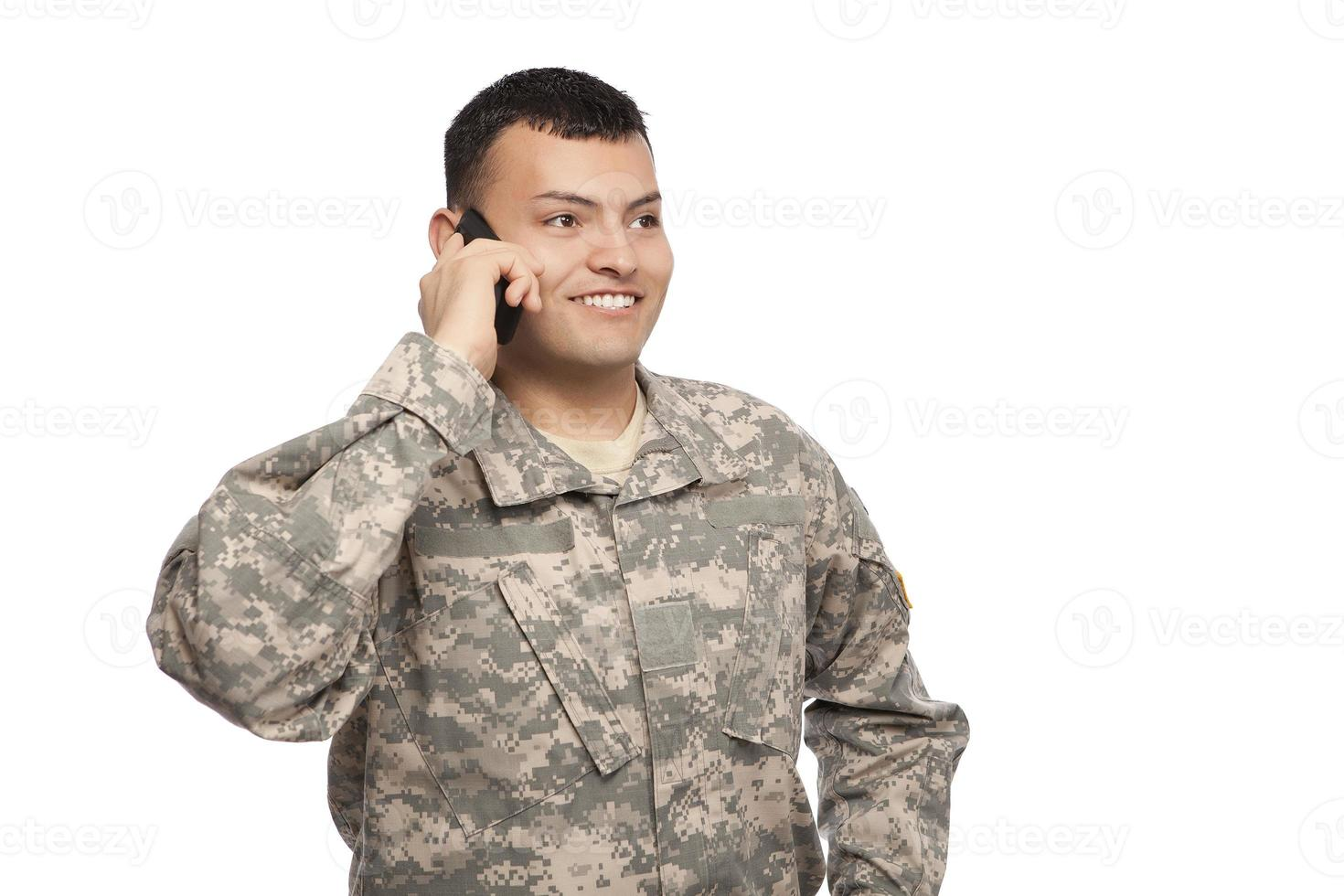 Soldier using cell phone photo