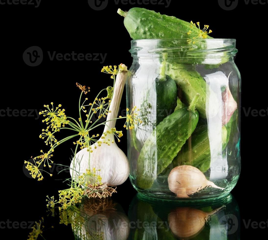 Cucumbers in jar preparate for preserving on black photo