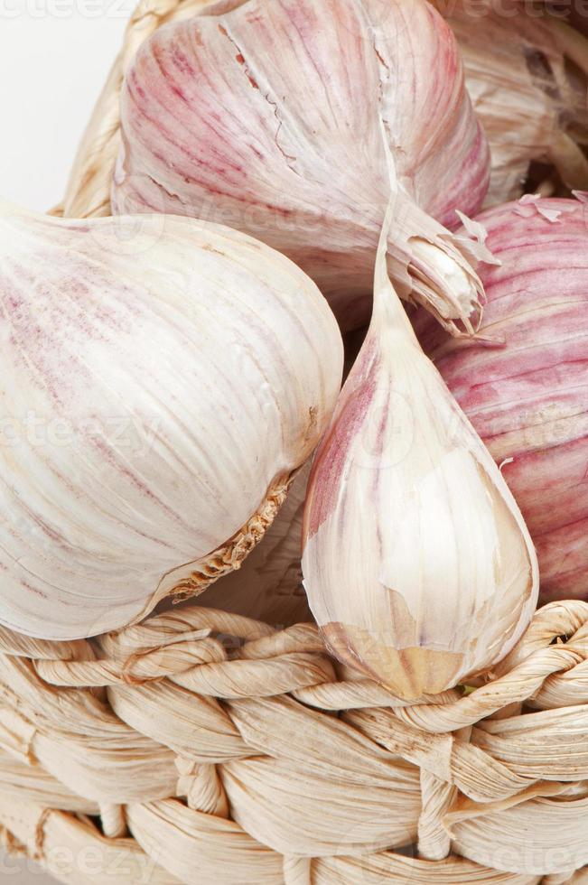 Fresh Garlic Isolated On White Background photo