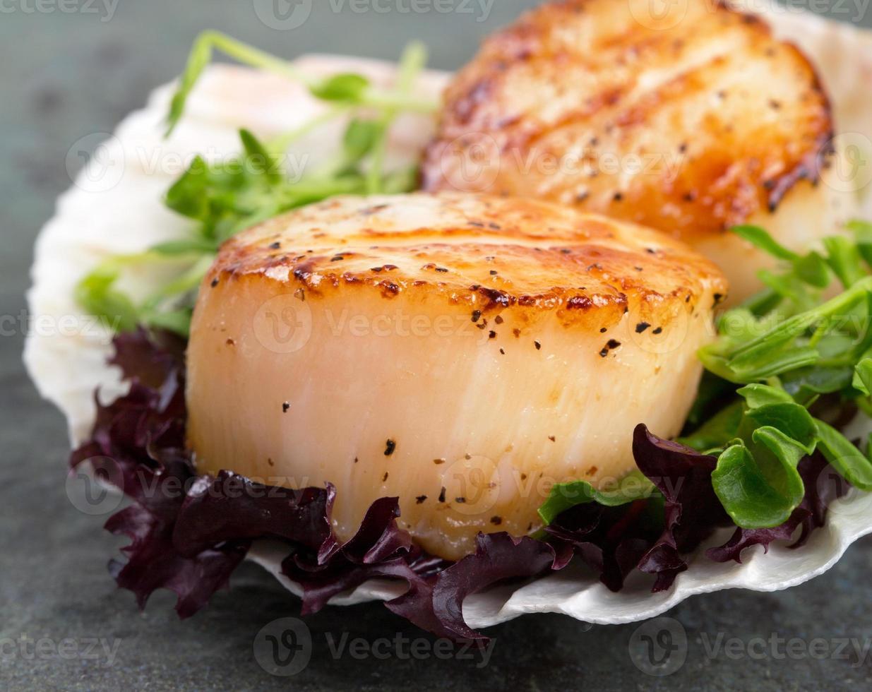 Seared scallops on lettuce photo