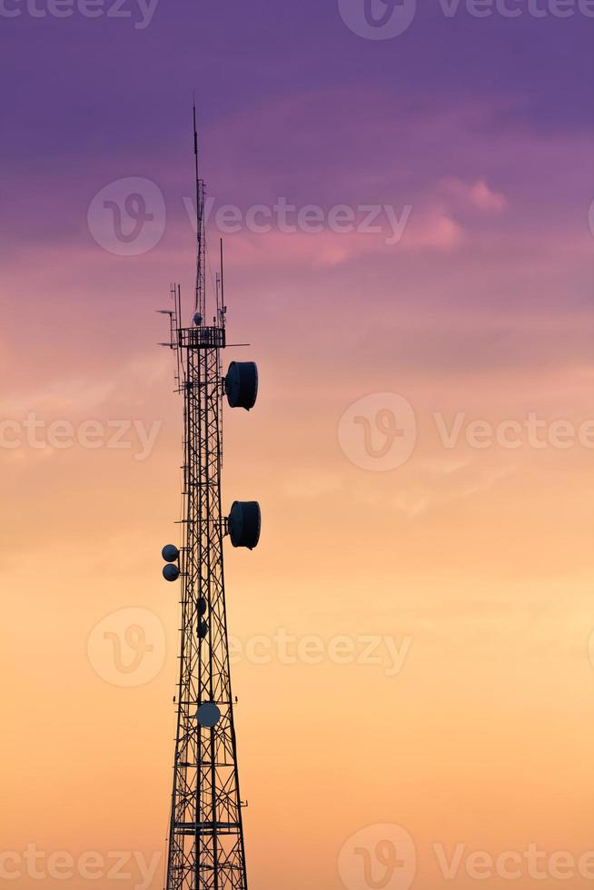 Silhouettes telecommunication tower photo