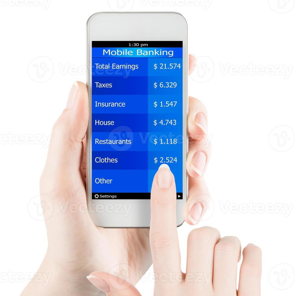 banca móvil en teléfono inteligente foto