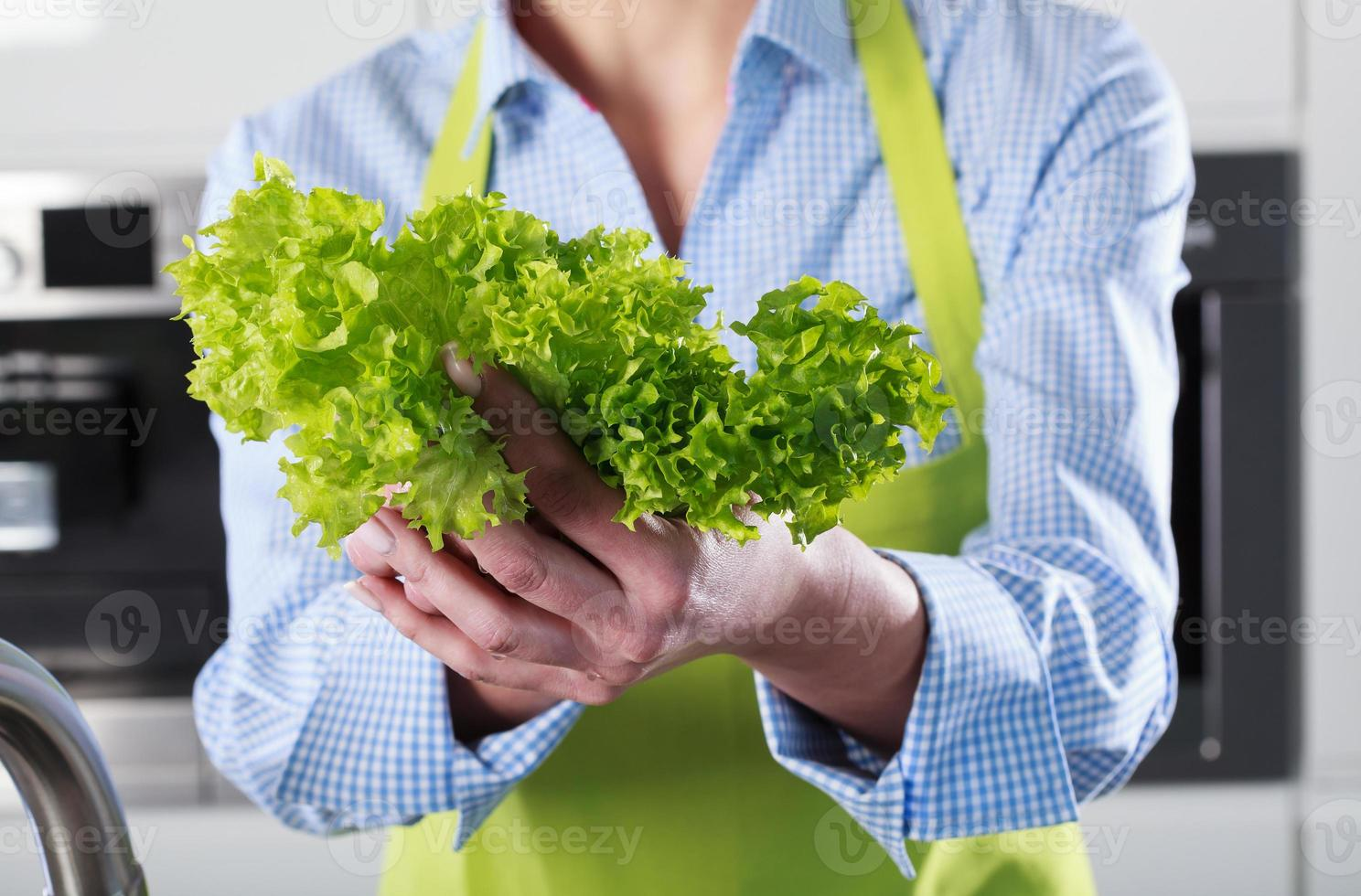 Close-up of lettuce in the hands photo