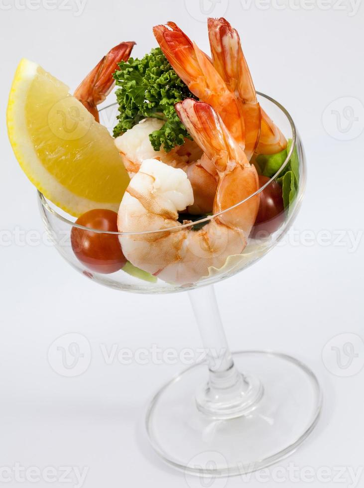 Shrimp Cocktail Isolated on a White Background. photo