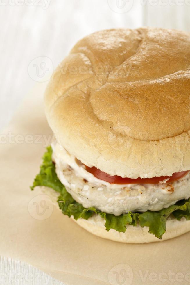 sandwich de hamburguesa de pollo foto