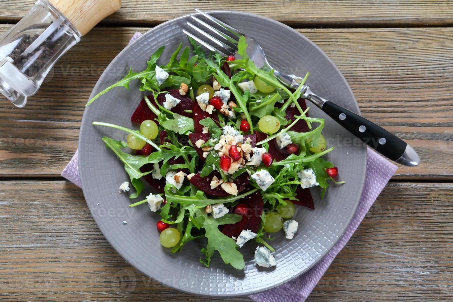 Salad with beets and cheese photo
