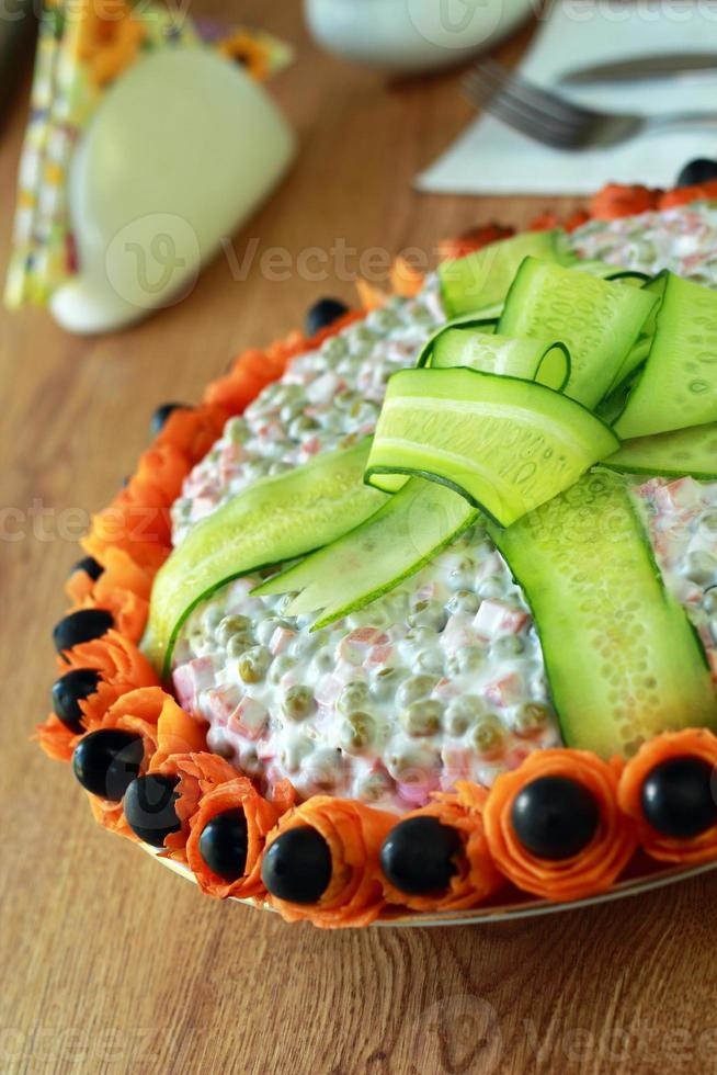 Lettuce is decorated by cucumber photo