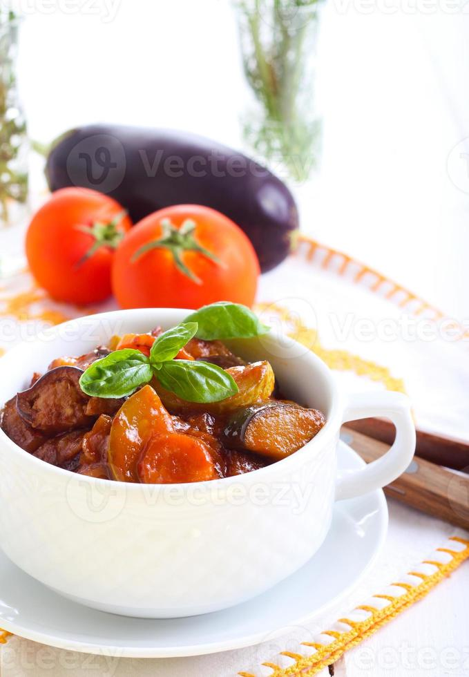 Vegetable stew with sauce photo