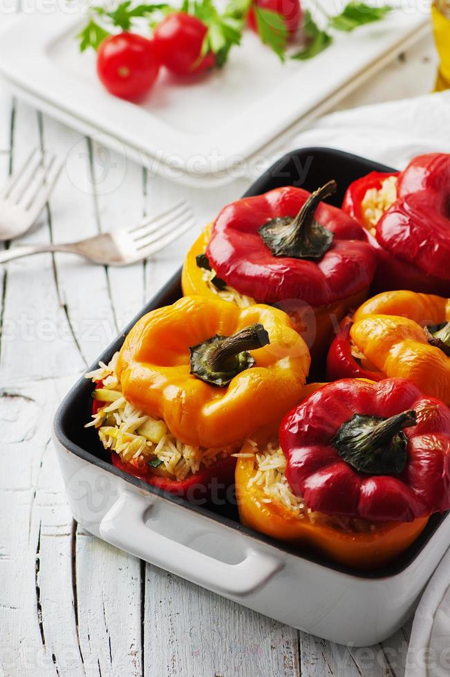 Stuffed vegetarian paprika with rice photo