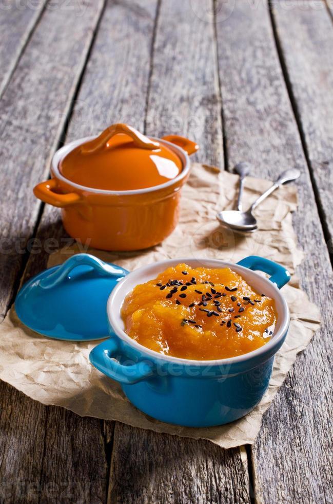 Soup puree of orange color photo