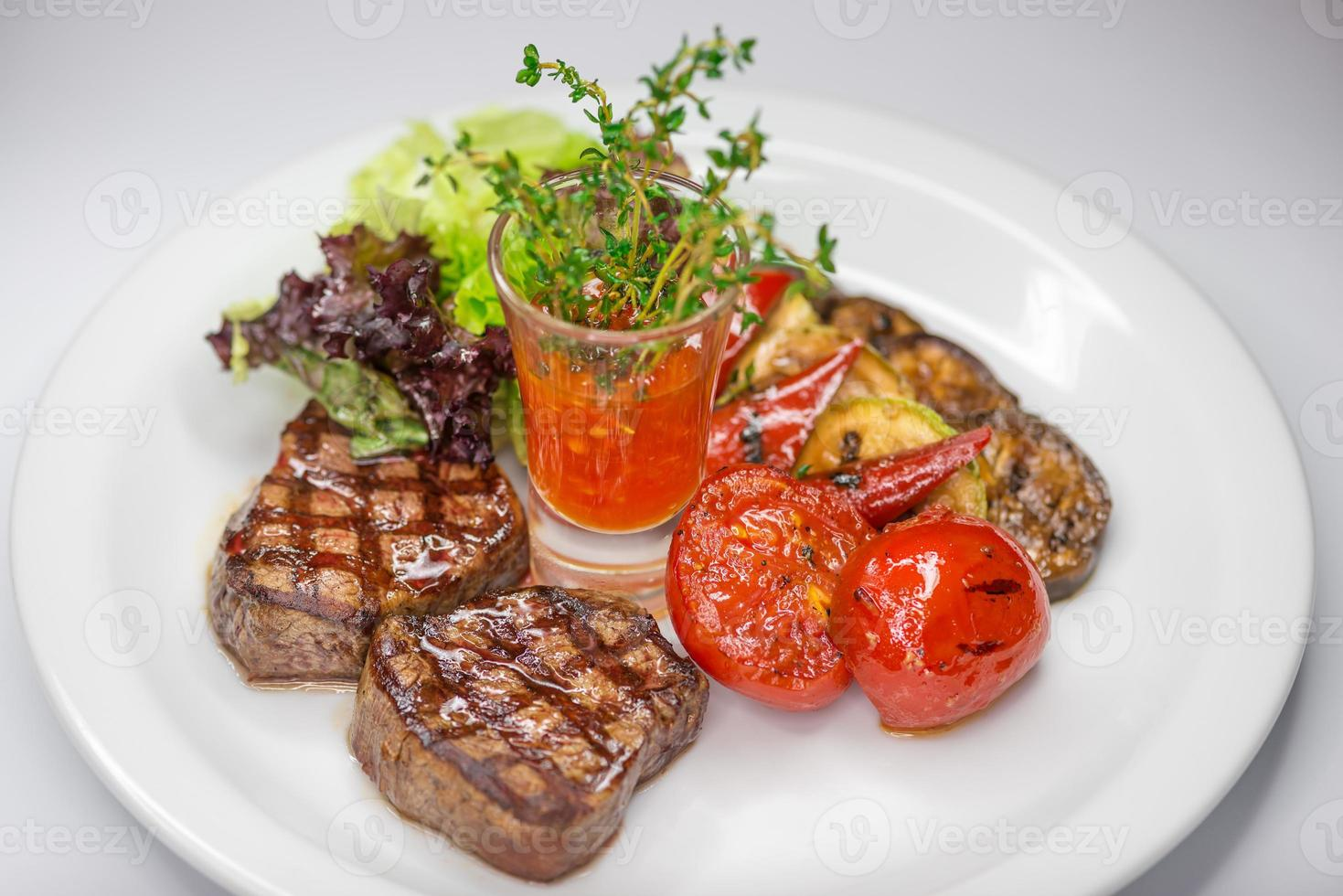 steak and vegetables photo