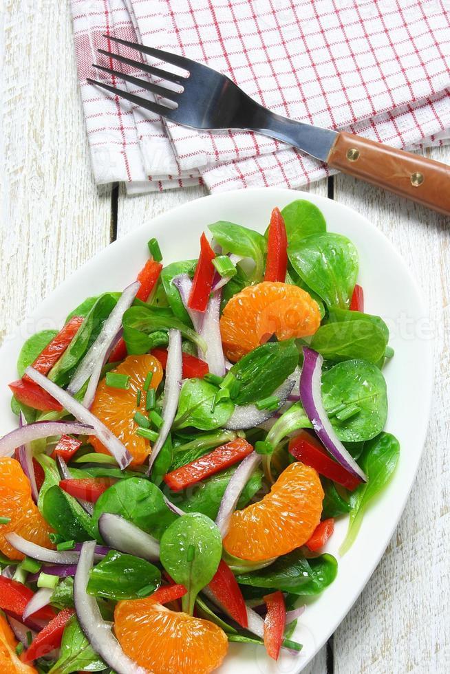 Salad of lamb's lettuce, mandarins, paprika, and onion photo