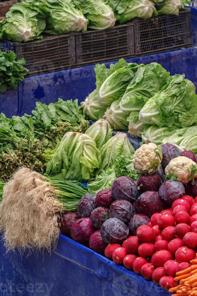 Vegetables and fruits in traditional Turkish grocery bazaar.. photo