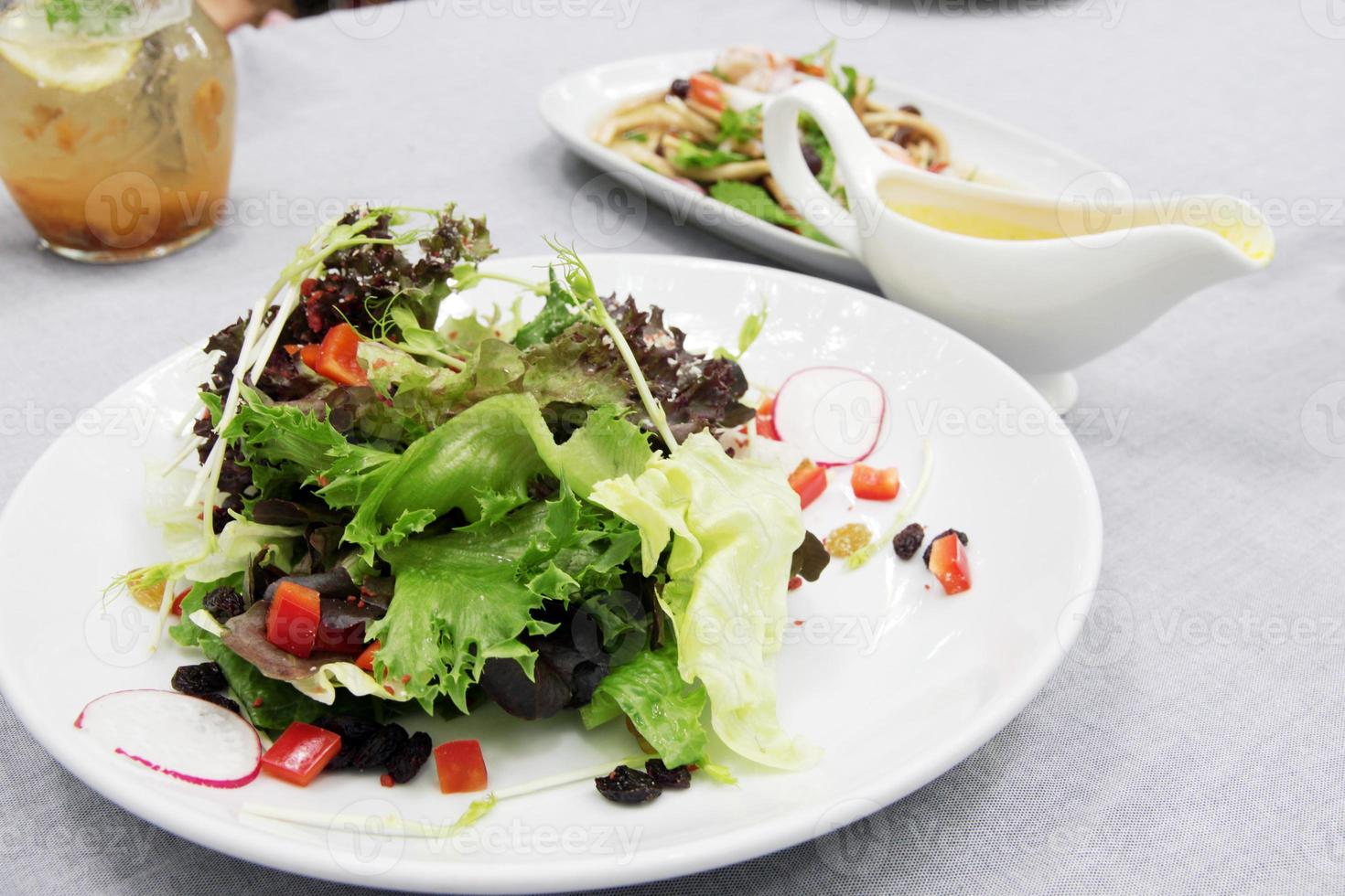 Vegetable and salad dressing photo
