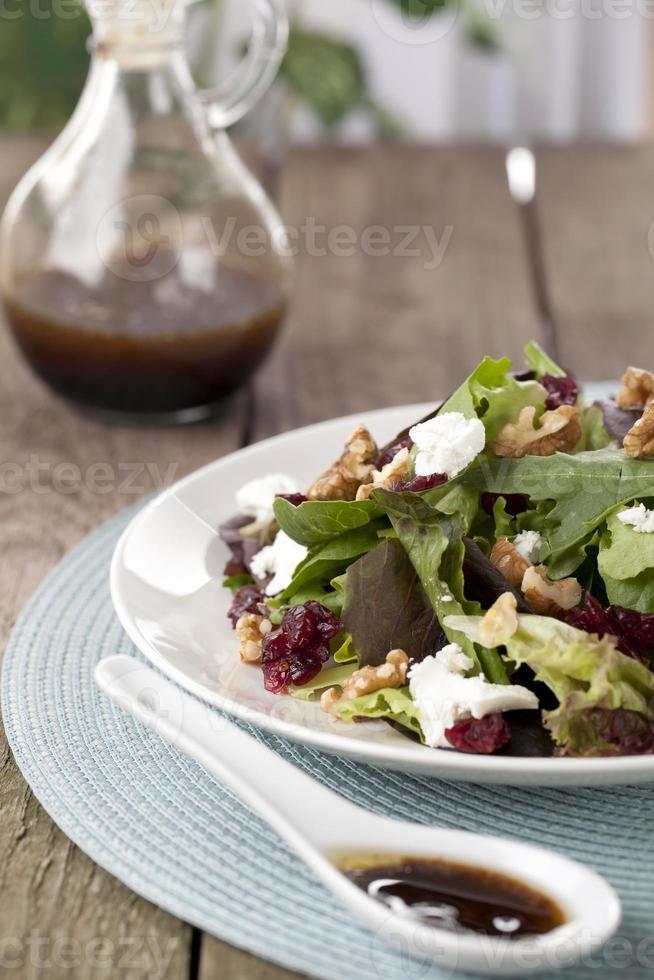 fresh green salad on a plate photo