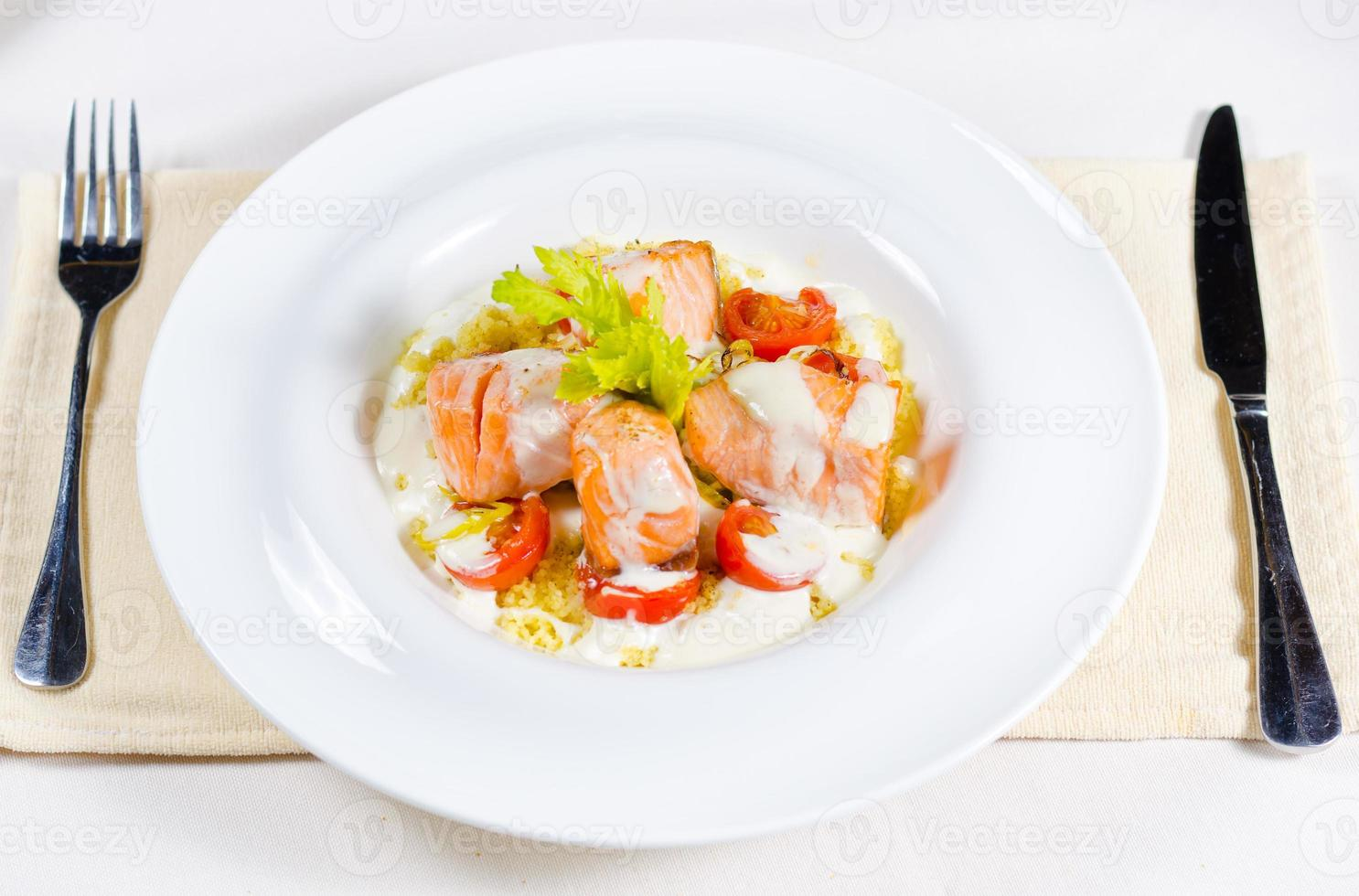 Delicious salmon salad photo