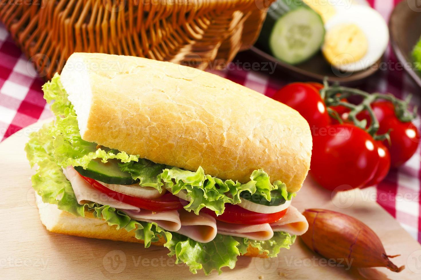 Breakfast sandwich with vegetables. photo