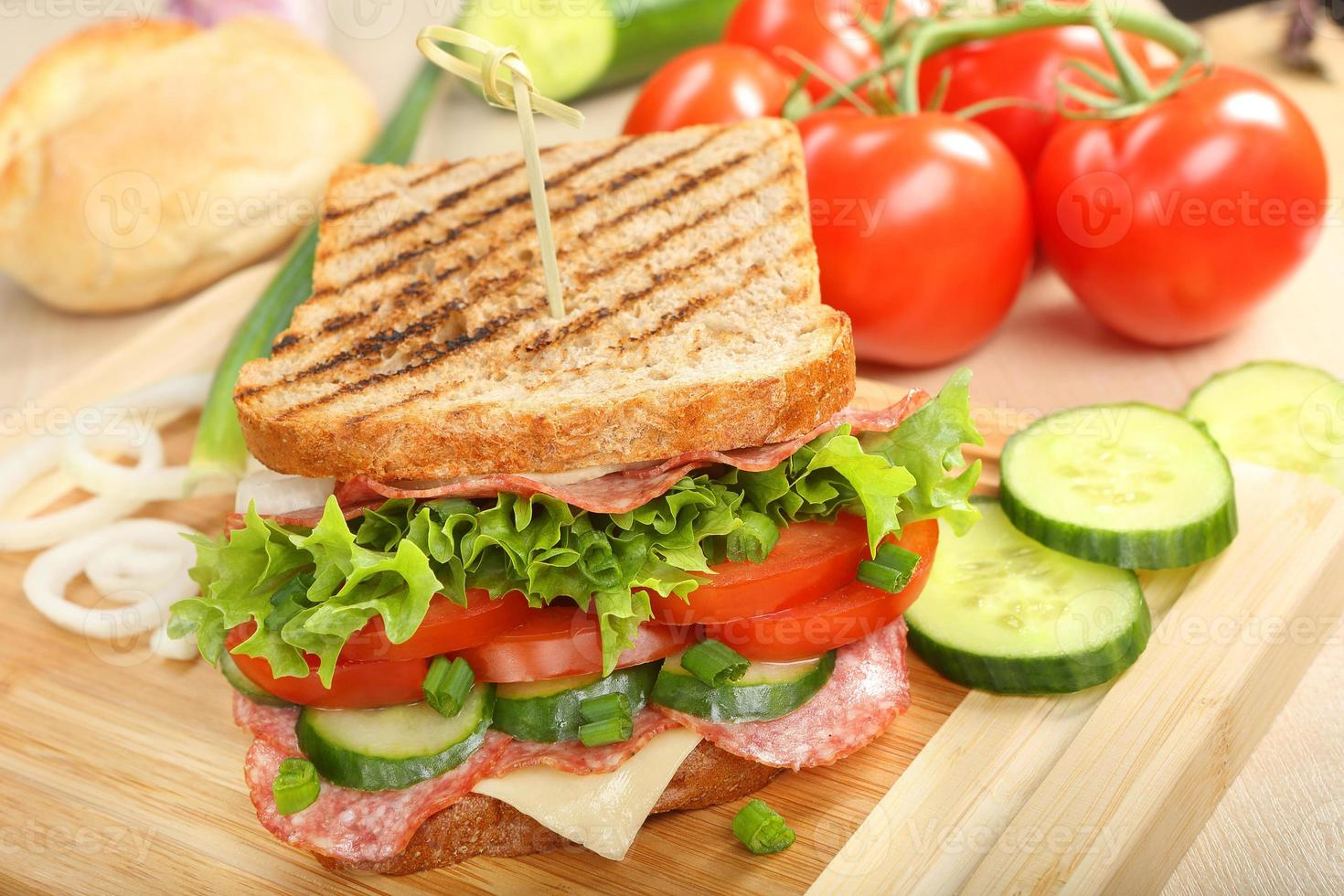 Sandwich with cheese and salami on wood background photo