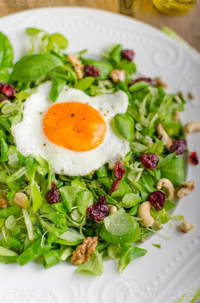 Fresh salad with nuts, raisins and fried egg photo