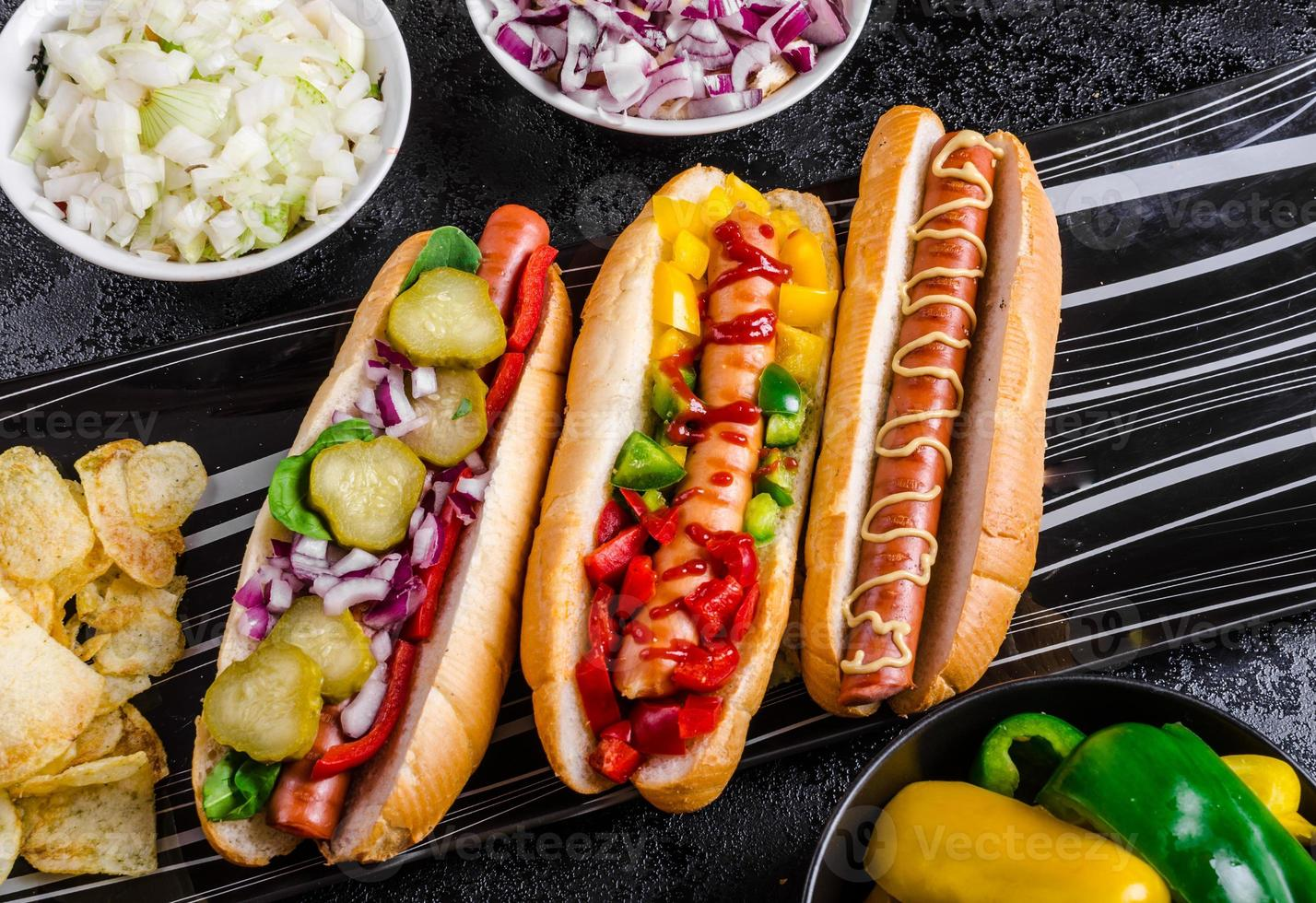 All beef dogs, variantion of hot dogs photo