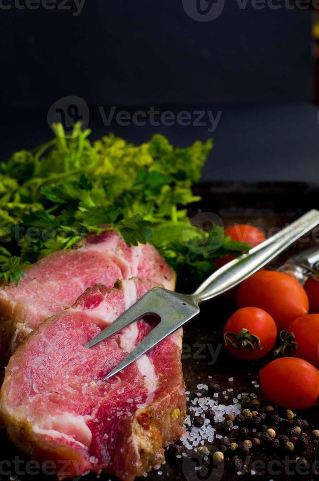 Raw pork steak photo