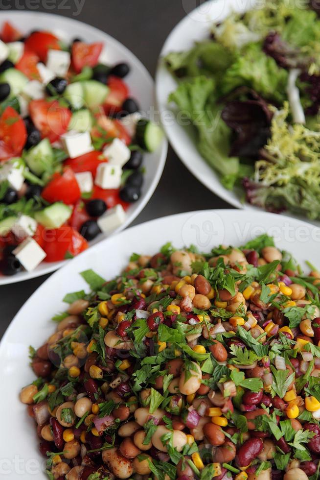 Trio of fresh salads photo